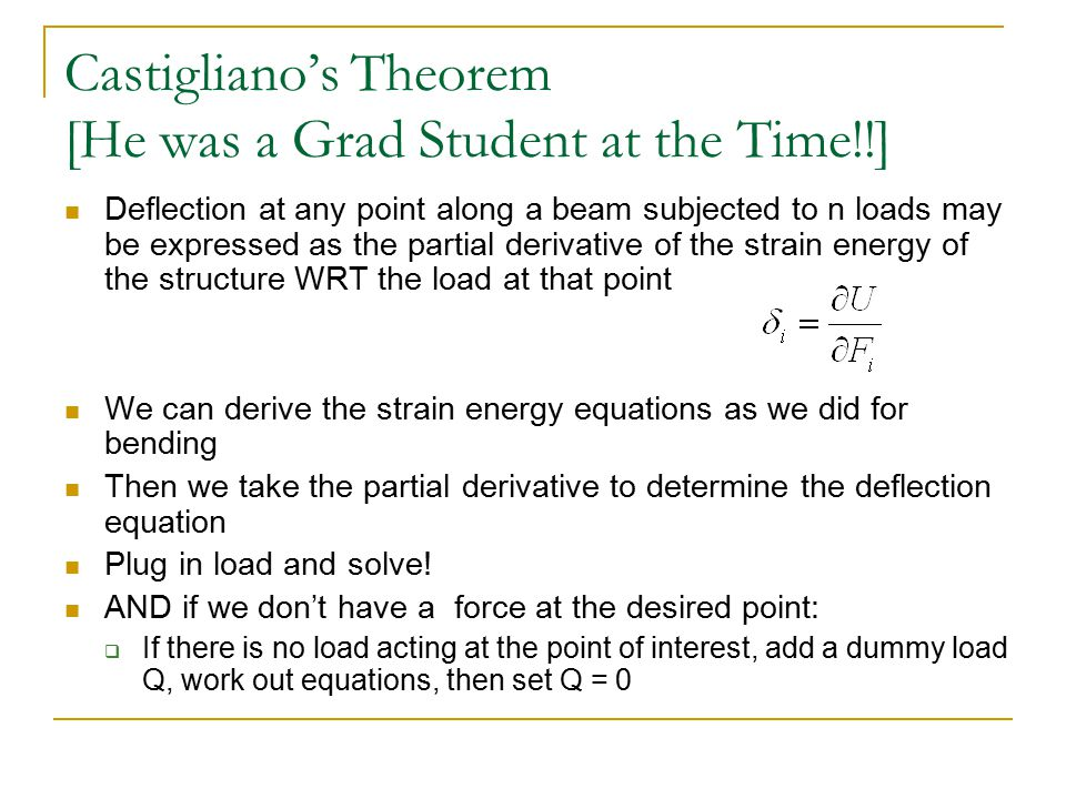 Castigliano's Theorem [He was a Grad Student at the Time!!]